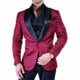 GEORGE BRIDE Party Jacket for Men Stylish Blazer Floral Party Dress Suit,XL,Burgundy+Black
