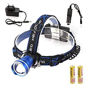 New Arrival NEW Rechargeable 2500lm Zoomable Spot Cree XML T6 LED Head Headlamp Headlight Torches (blue)
