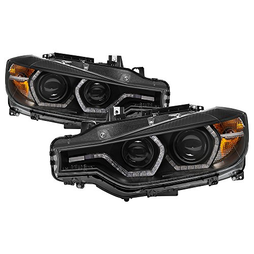 (Carpart4u-Projector Headlights For 2012-2014 BMW F30 3 Series 4DR - LED DRL - Black Housing With Clear Lens )