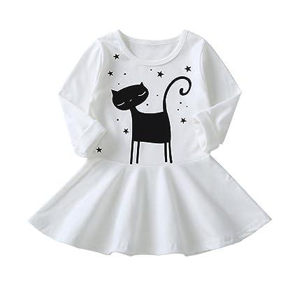feiXIANG Lindo bebé Moda Vestido de Manga Larga niños de Dibujos Animados Gato Vestido de impresión