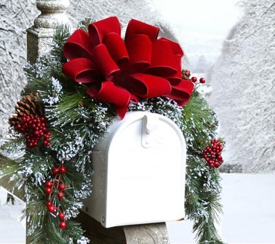Mailbox Christmas Decorations.Floral Home Decor Christmas Mailbox Cover With Flocked Snow Cr1048