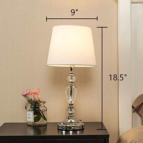 POPILION Modern Style Chrome Bedroom Livingroom Crystal Bedside Table Lamp,Desk Lamps with White Fabric Shade for Bedroom, Dresser, Living Room, Kids Room, College Dorm, Coffee Table, Bookcase