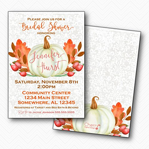 Fall Wedding Leaves Invitation (White Pumpkin Fall Bridal Shower Invitations | Envelopes Included)