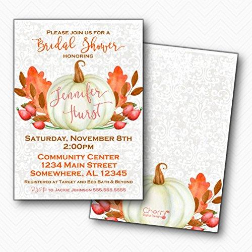 White Pumpkin Fall Bridal Shower Invitations | Envelopes Included
