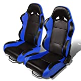 Set of 2 Universal Type-R PVC Leather Reclinable Racing Seats w/Sliders (Black Body/Blue Side)