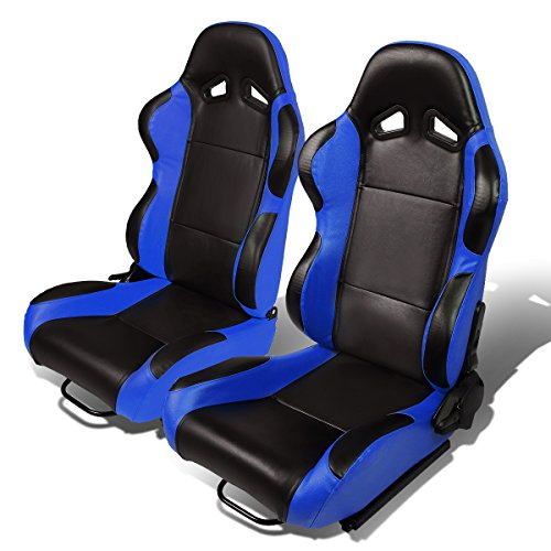 Set of 2 Universal Type-R PVC Leather Reclinable Racing Seats w/Sliders (Black Body/Blue Side) ()