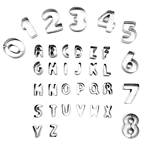 Cookie Cutter Set, 35 Pcs Stainless Steel Alphabet and Large Number Molds for Fondant Biscuit, Cake, Fruit, Vegetables, or Dough Cut