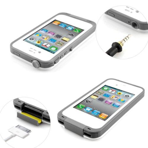 Alienwork Schutzhülle für iPhone 4/4S Vier Schutzarten Hülle Case Bumper Wasserdicht Staubdicht Schneedicht Plastik weiss AP437-02