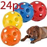 SET OF 24 PET PLAY BALLS PLASTIC AIRFLOW CATCH THROW FETCH LIGHTWEIGHT DOG NEW