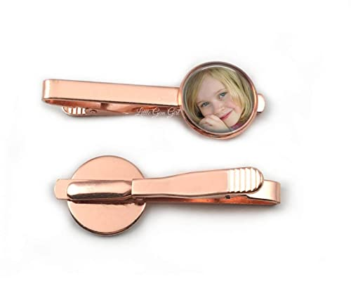 Rose Gold Custom Photo Tie Bar Personalized with your Picture 18mm Size Wedding Keepsake In Memory Gift Father/'s Day Kids Keepsake