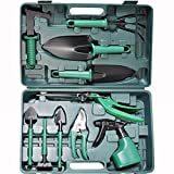 BYUEE Gardening Tool Set 11 Piece Gifts Garden Hand Kit for Men or Women Gardener with Carrying Box(Green)