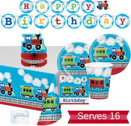Train Party Supplies and Decorations - Plates Cups Napkins for 16 People - Includes Banner, Tablecloth and Centerpiece - Perfect Train Birthday Party Decorations! -