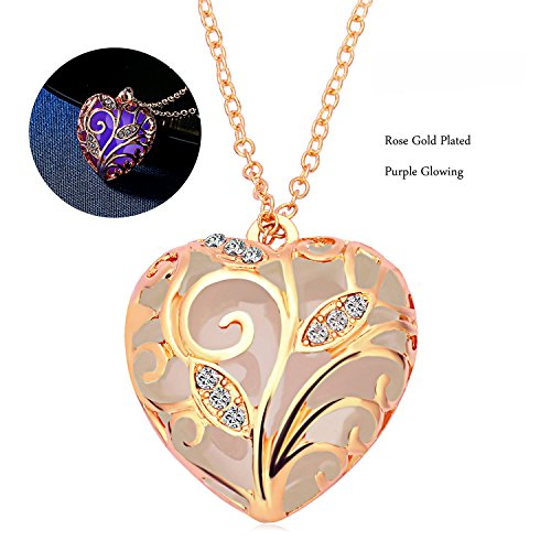 RINHOO Steampunk Magical Fairy Glow in The Dark Heart Charms Pendant Necklace White Gold Plated (Rose Gold-Purple)