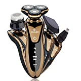 GCtown Electric Razor,Waterproof Eletric Shaver,4 in 1 Rechargeable Men's 360 Rotary Electric Shaving Razors