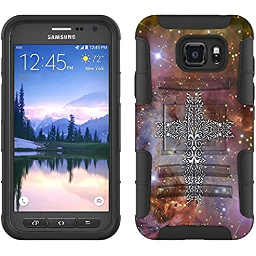 Samsung Galaxy S7 Active Armor Hybrid Case Tribal Cross on Nebula Brown 2 Piece Case with Holster for Samsung Sales