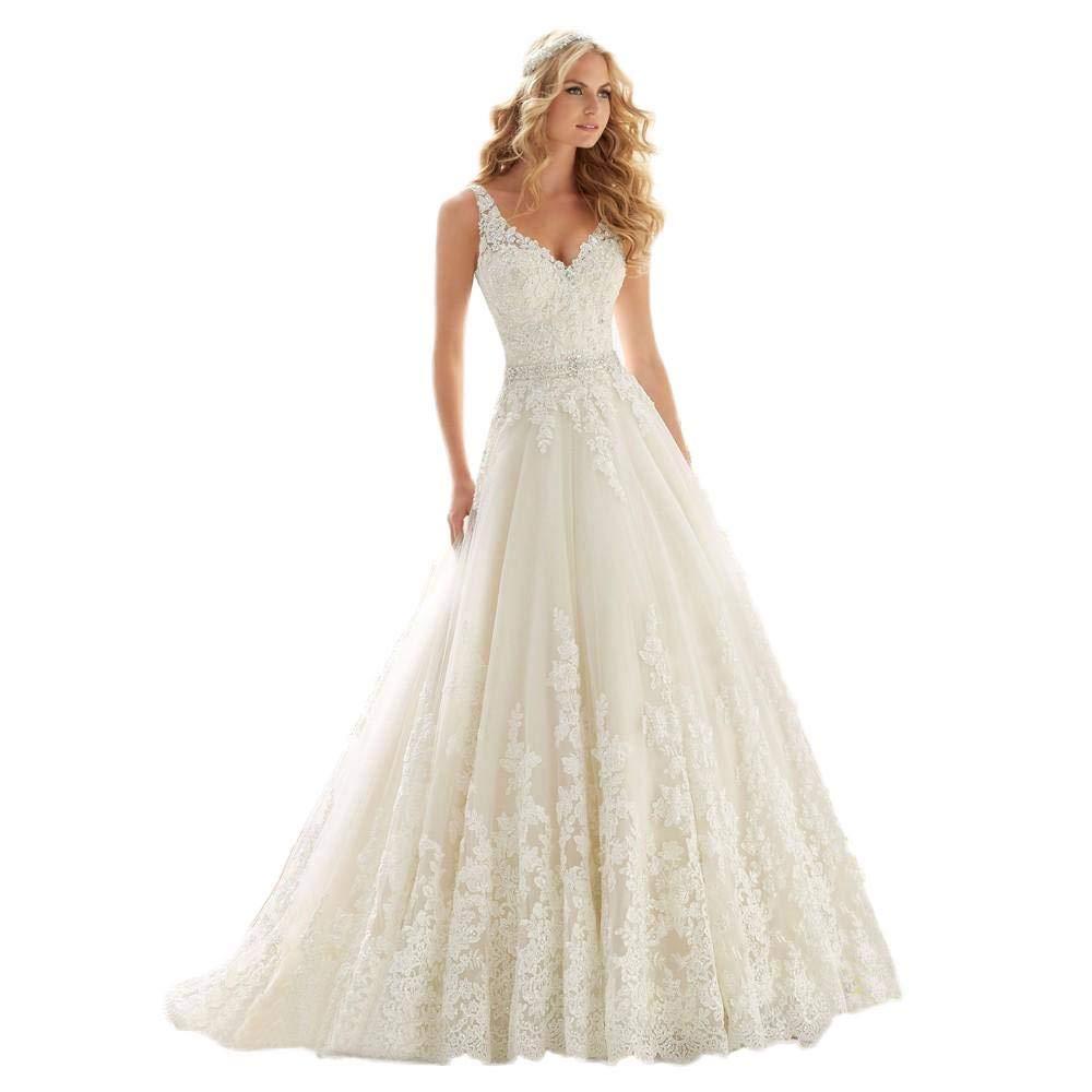 Xia Womens V Neck Lace Beaded Belt Cheap Beach Wedding Dresses A