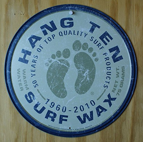 (Hang Ten Surf Wax Round Tin Sign 12 x)