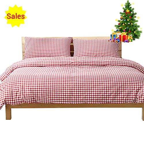 OTOB 3 Pieces Cotton Bedding Duvet Cover Set Red Plaid Print