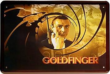 James Bond Goldfinger Film Werbung Metallschild 20x30 Reklame Blechschild 1045 Sammeln & Seltenes