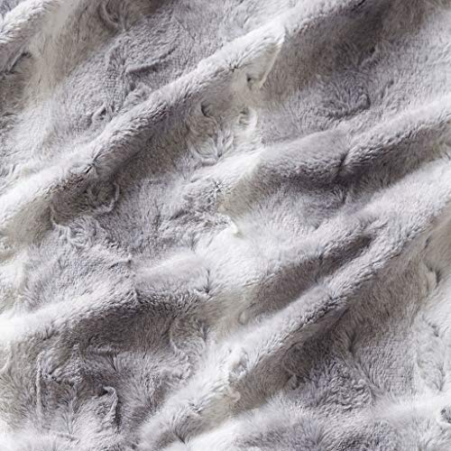 Madison Park Zuri Luxury Oversized Faux Fur Throw Grey 6070    Premium Soft Cozy Brushed Faux Fur For Bed, Coach or Sofa