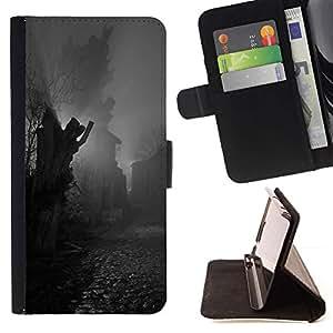 Momo Phone Case / Flip Funda de Cuero Case Cover - Estatua de adoquines Negro Blanco - Samsung Galaxy Note 5 5th N9200