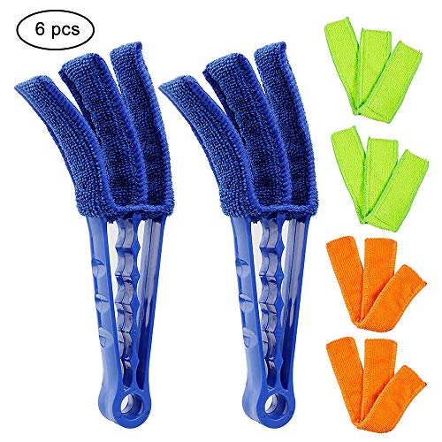 Window Blind Cleaner Duster Tools,Yomiro 2 Pcs Blind Cleaner Duster with 6 Pcs Microfiber Sleeves for Cleaning Vertical Venetian Mini Blinds Faux Wood Plantation Shutters