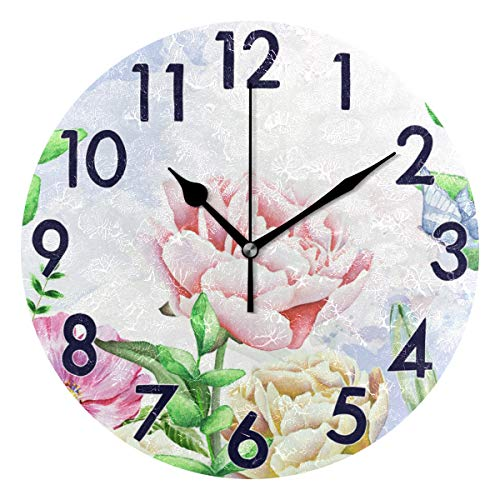 Chic Houses Round Wall Clock Blooming Flower Arabic Numerals Design Garden Colorful Fresh Style Romantic Elegant Aesthetic Quiet Desk Clock for Bathroom Home Office School Decorative 2030031 Blooming Flower Wall Clock