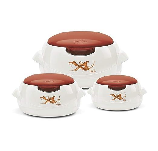 MILTON - Cacerola microondas, Color Crema y marrón, 3 ...