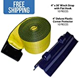 """4"""" x 30' Winch Strap w/ Flat Hook — 10 PACK & 10 Deluxe Corner Protectors — Shippers Supplies"""
