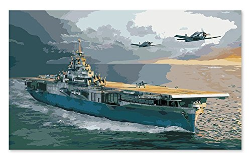 Diy Oil Painting, Paint By Number Kits,Acrylic Art Wall Decor-War Ship 16x20 inch (Wooden Framed)