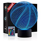 Basketball 3D Illusion Birthday Gift Lamp , Gawell 16 Colors Changing Touch Switch Xmas Decoration Night Light Acrylic Flat & ABS Base & USB Cable & Remote Control Toy for Basketball Sports Fans