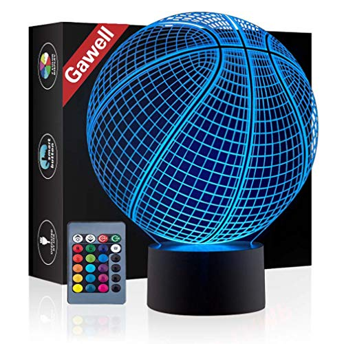 Basketball 3D Illusion Birthday Gift Lamp , Gawell 16 Colors Changing Touch Switch Xmas Decoration Night Light Acrylic Flat & ABS Base & USB Cable & Remote Control Toy for -