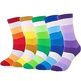 WEILAI SOCKS 6 Pack Men Dress Socks - Funky Colorful Socks For Men Cotton Crew Socks (Color 1)
