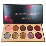 Beauty Glzaed 10 Colors of Smokey Eyeshadow Palette Matte & Pigment Glitter Shimmer Makeup Contour Metallic Eyeshadow Palette
