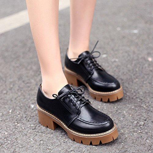 Vintage Platform Womens Foot Up Lace Charm Oxfords Black Shoes qxpawRxEO