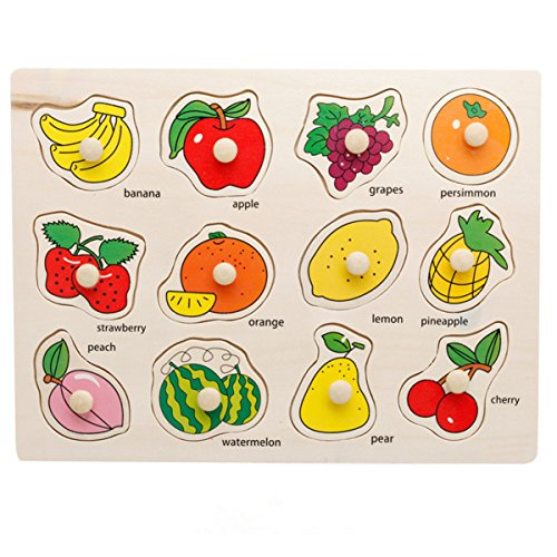 Joyeee¨ 12 Pcs Wooden Matching Pegged Puzzles - Fruit - Creative Wood Educational Shape and Color Puzzle - Perfect