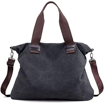 Women s Canvas Vintage Hobo Tote Purse Top Handle Shoulder Bag Handbags  (Black) 8b96df0bed47c