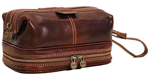 Floto Positano Travel Kit, Leather Toiletry Bag in Vecchio Brown by Floto