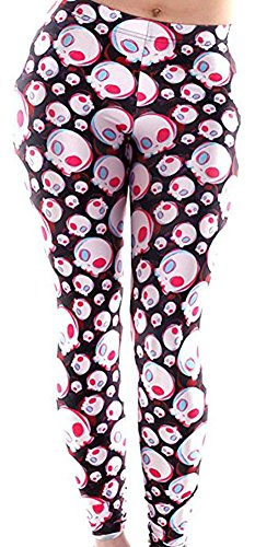 Christal Town Women's Soft Halloween Skulls Regular and Plus Leggings Pants P-Pink Eye Skulls One Size (Size 0-12