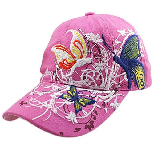Deer Mum Ladies Denim Jean Campagne Embroidered Ajustable Baseball Cap Cowboy Hat (Hot Pink)