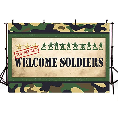 COMOPHOTO Army Men Welcome Sign Photo Backdrop Party Decorations Banner Commando Marines Parties Supplies 7x5ft Vinyl Cloth ()
