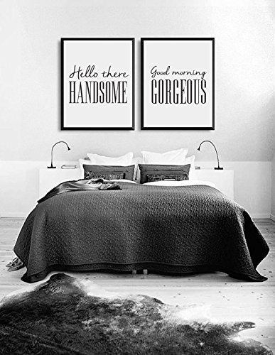 Hello There Handsome, Good Morning Gorgeous, Bedroom Art, Bedroom Print,  Wall Art