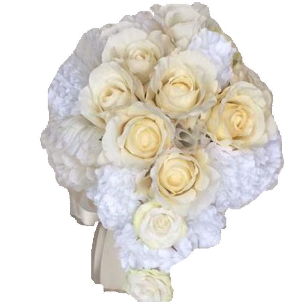 花職人の店 いるでぱいん ウエディングブーケ ブートニア セット オフホワイトのバラ 白 カーネーション の ティアドロップ型 セミキャスケードブーケ バラ カーネーション 白 オフホワイト ブライダルブーケ ウエディング ブライダル アートフラワー シルクフラワー 造花 asw0001 B07J9Z5DSD