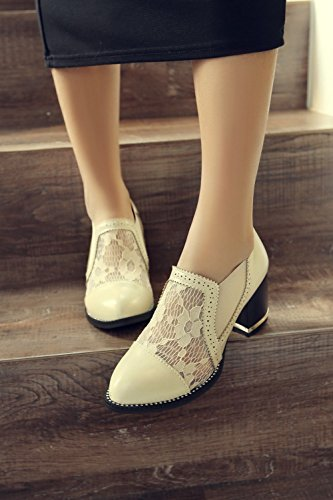 Charm Foot Fashion Womens Chunky Heel Lace Fabric Loafers Shoes Beige TCg8wIai