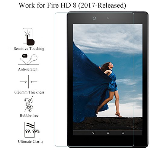 Fire HD 8 Screen Protector,[2Pack](7th Gen-2017 Release)by Ailun,2.5D Edge Tempered Glass,9H Hardness,Ultra Clear,Anti-Scratch,Case Friendly-Siania Retail Package