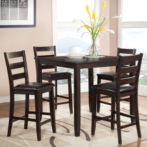 1PerfectChoice Luca 5 pcs Dining Counter Height Set Square Table PU Seat Side Chairs Cappuccino