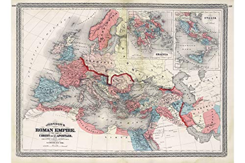 time of Christ, Antique Map by Johnson, 1870-24 x 36 inches ()