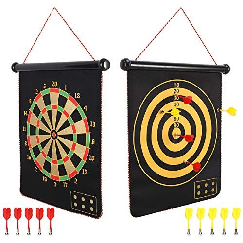 [해외]Mixi Magnetic Dart Board for Kids Indoor Outdoor Darts Game Double Sided Board Games Set for Boys10 Darts Best Toys Gifts for Teenage Boys Girls Age 5 6 7 8 9 10 11 12 13 14 15 16 Years / Mixi Magnetic Dart Board for Kids, Indoor O...