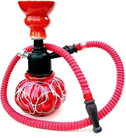 an Handicrafts Glass Hookah 8 inch Colour- Red