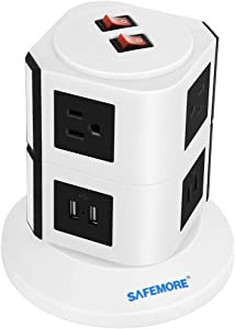 Safemore 6 Outlet Surge Protector Power Strip with USB Smart Charger (4 Port,5V 2.1A), AWG14 6.5ft Long Cord Extension, Home Office Desk Nightstand Charger Station (White+ Black)
